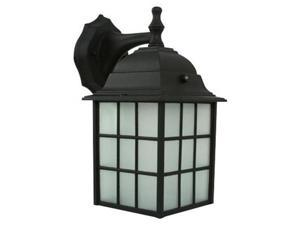 Efficient Lighting EL-100-123 Rustic Outdoor Wall Lantern  Die Cast Aluminum  Powder Coated Black  Frosted Glass with Built-in photocell  Energy Star Qualified