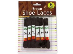 6 Pack brown shoe laces - Case of 12