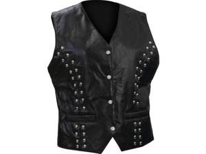 Diamond Plate Ladies Rock Design Genuine Lambskin Leather Vest- 4x