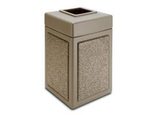 Commercial Zone Products 720315 42-gallon StoneTec Panel Trash Can  Beige with Riverstone