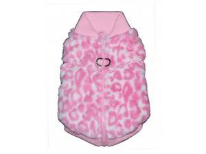 Hip Doggie HD-7PCV-XL Extra Large Pink Cheetah Mink Sweater Vest