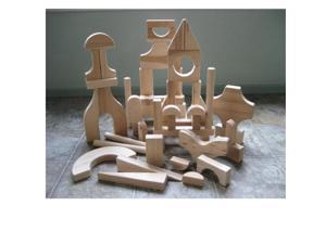 Beka 06051 Hard Maple Unit Blocks Special Shapes Collection- The Ultimate Complete Set- 51 pieces