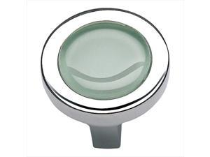 Atlas Homewares 229-GR/CH 1.25 in. Spa Collection Round Knob - Polished Chrome and Green