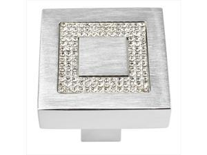 Atlas Homewares 3192-MC Crystal Brushed Anodized Aluminum 1.4 in. Square Inset Crystal Knob