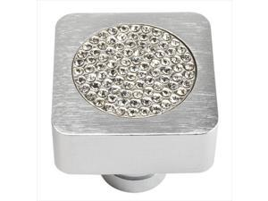 Atlas Homewares 3193-MC Crystal Brushed Anodized Aluminum 0.98 in. Square Small Inset Crystal Knob
