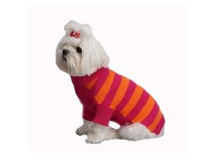 A Pets World 07153822-10 Mercerized Cotton Azalea-Orange Rugby Dog Sweater