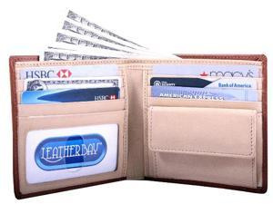 Leatherbay 50130 Double Fold Wallet With Coin Pocket, Tan Natural