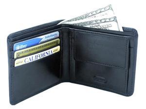 Leatherbay 50115 Double Fold Leather Wallet With Pocket, Black