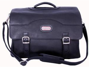Leatherbay 10116 Stanford Leather Briefcase, Black