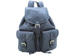 Leatherbay 80102 Leather Backpack With Pockets, Black