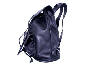 Leatherbay 80110 Leather Backpack With Single Pocket, Black