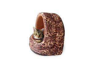 PAW Furry Canopy Cave Pet Bed - Leopard