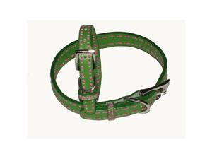 A Pets World 03011303-10 Leather Dog Collar- Green-Hot Pink Saddle Stitch