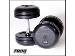 Troy Barbell RUFDC-060R Rubber Encased Pro-Style Dumbbells With Rubber End Cap - 60 Pounds - sold as pairs