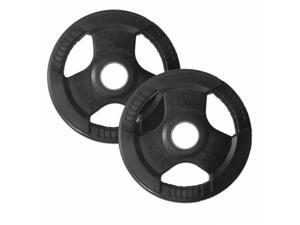 XMark Pair of 10 lb. Rubber Coated Tri-grip Olympic Plate Weights XM-3377-10-P