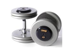 Troy Barbell HFD-22.5R Pro-Style Dumbbells - Gray Plates And Rubber End Caps - 22.5 Pounds Each - Sold as Pairs