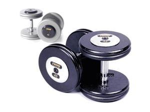 Troy Barbell HFDC-015C Pro-Style Dumbbells - Gray Plates And Chrome End Caps - 15 Pounds - Sold as Pairs
