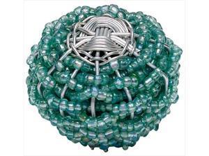 Atlas Homewares 3168 Bollywood 2 in. Large Beaded Weave Knob - Beauties Aqua and Silver