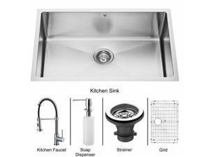 Vigo VG15053 Undermount Stainless Steel Kitchen Sink, Faucet, Grid, Strainer and Dispenser