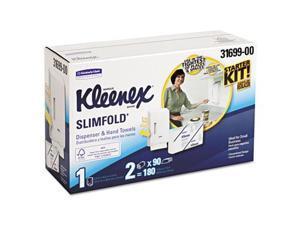 Kimberly-Clark 31699 KLEENEX SLIMFOLD Hand Towel Dispenser Starter Kit, 14.93x13.13x8.5, White