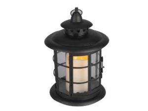 Gerson Company 35923 Metal & Resin Round Lantern W/Candle Timer  Black - Pack of  4