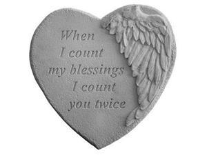 Kay Berry 08909 Winged Heart Memorial Stone - When I Count...