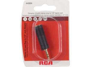 Audiovox AH203R RCA 3.5mm Plug to 1-4in Jack Adapter Black Black