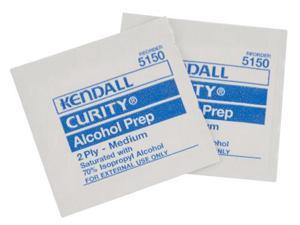 Kendall AP100 Alcohol Sterile Prep Wipes, 2 - Ply, Medium, 100 Wipes Per Box
