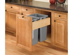 Rev A Shelf Rs4Wctm.Rm.2135Dm.2 35Qt Double Top Mount Rev-A-Motion Wood Waste Containers