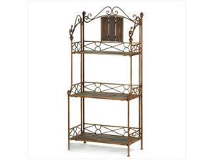 Sunrise Wholesale 12516 Rustic Romance Baker's Rack Roomy Shelf