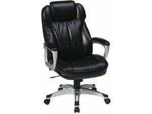 Office Star ECH85806-EC3 Executive Eco Leather Chair with Padded Arms, Coated Base and Built in Adjustable Headrest. Silver ...