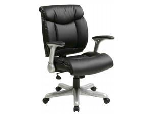 Office Star-Work Smart ECH8967R5-EC3 Managers Black Eco Leather Chair with Fixed Padded Arms and Silver Base