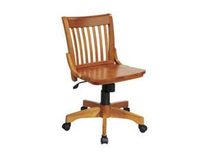 Office Star 101FW Deluxe Armless Wood Bankers Chair with Wood Seat in Fruit Wood Finish- Fruitwood Finish