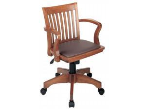 Office Star 108FW-1 Deluxe Wood Bankers Chair with Vinyl Padded Seat in Fruit Wood Finish with Brown Vinyl- Fruitwood Finish - Brown Vinyl