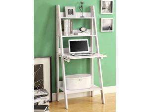 Monarch Specialties I 7040 White 61 in. Ladder Bookcase With A Drop-Down Desk