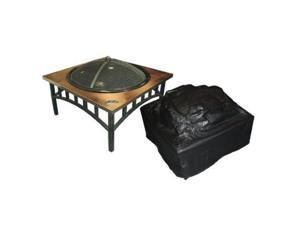 Well Traveled 02056 High-Square Outdoor Fire Pit Table Vinyl Cover with Felt Lining