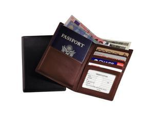Royce Leather RFID-222-CO-5 RFID Blocking Passport Currency Wallet - Coco