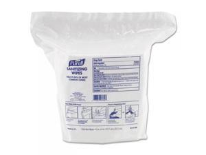 Gojo 911502 Premoistened Sanitizing Wipes, Nonwoven Fiber, 5 in. x 8 in., 1500-Refill