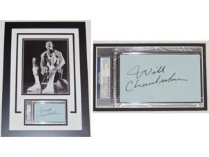 Real Deal Memorabilia WChamberlain3x5-1F Wilt Chamberlain Autographed index card - Custom Framed with the Kansas Jayhawks 8x10 Photo - PSA-DNA Authenticity - Deceased 1999
