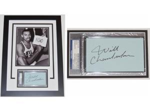 Real Deal Memorabilia WChamberlain3x5F Wilt Chamberlain Autographed index card - Custom Framed with the 100 POINTS 8x10 Photo - PSA-DNA Authenticity - Deceased 1999