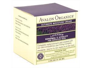 Avalon Organics Ultimate Moisture Cream, Lavender Renewal & Vitality, For Sensitive Skin, 2 Oz