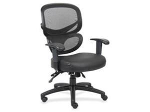 Lorell LLR60623 Mesh-Back Executive Chair, Leather Seat, 27 in. x 27 in. x 40.5 in.,BK