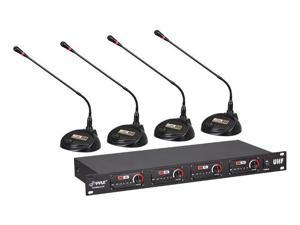 Sound Around-Pyle PDWM4650 Uhf 4-Channel Professional Wireless Desktop Conference Microphone System