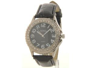 XOXO XO3333 Womens Rhinestone Accent Black Leather-Look Watch