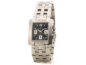 Croton CC311332SSBK Mens Stainless Steel Chronograph Three Eye Date Black Dial New Watch