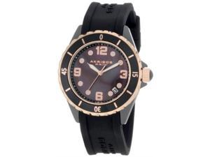 Akribos XXIV AK502BKR Womens Ceramic Case With Rose-Tone Accents And Black Rubber Strap Watch