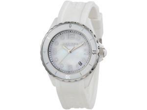 Akribos XXIV AK502WT Womens Ceramic Case With White Rubber Strap Watch