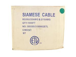 1000 FOOT SIAMESE RG59 CABLE WHITE