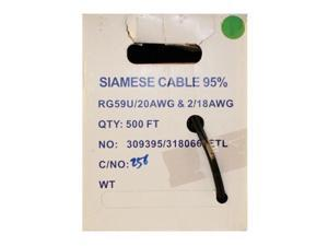 500 FOOT SIAMESE RG59 CABLE BLACK
