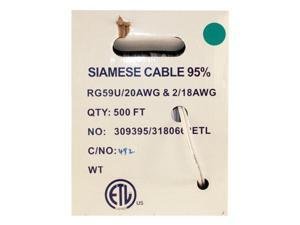 500 FOOT SIAMESE RG59 CABLE WHITE